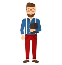 Man holding digital tablet vector image