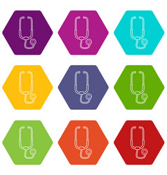 medical stethoscope icons set 9 vector image