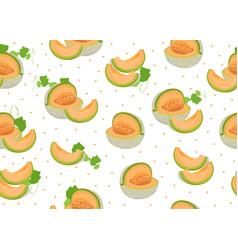 Melon slice seamless pattern on white background vector