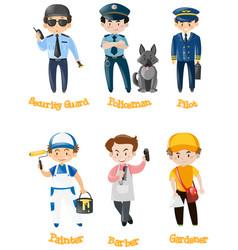 Men doing different kinds of jobs vector