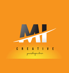 Mi m i letter modern logo design with yellow vector