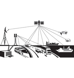 Navigation and vehicle tracking vector image