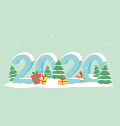 new year 2020 greeting card gift boxes trees snow vector image
