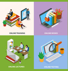 Online education isometric design concept vector