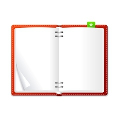 Open personal organizer book red vector