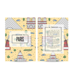 Paris traveling banners set in linear style vector