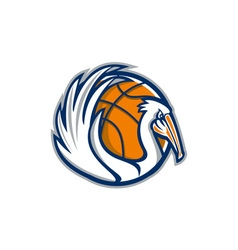 Pelican Wings Basketball Retro vector