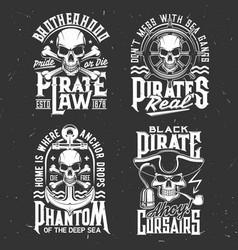Pirates skulls and bones t-shirt retro prints vector