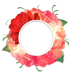 Postcard with a round frame of roses vector