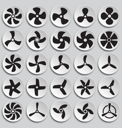 Propeller icons set on plates background for vector