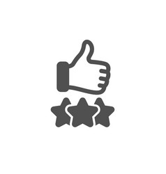 rating stars icon thumb up hand sign vector image