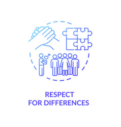 Respect for differences blue gradient concept icon vector