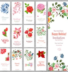 Romantic collection vertical invitation cards with vector image