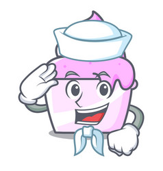 sailor ice cream paper cup character cartoon vector image