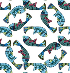 Seamless pattern with mosaic elements vector image