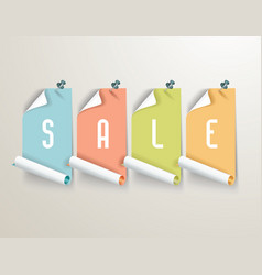 set of red paper sale stickers on white background vector image