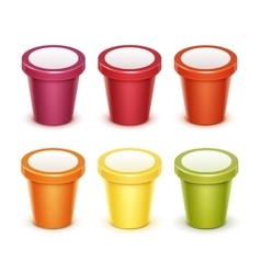 Set of Tub Bucket Container For Yogurt Ice Cream vector
