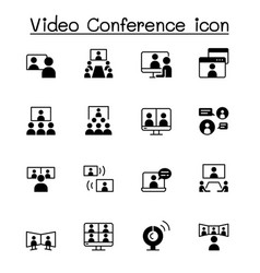 set video conference icons contains such icons vector image