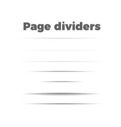Shadow page dividers set vector