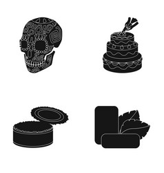 Skull cake and other web icon in black style can vector