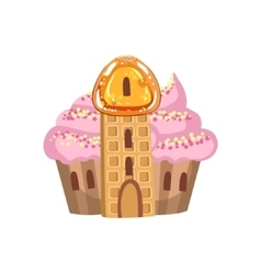 Small Cupcake Castle With Cream Roof And Waffle vector