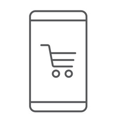 smartphone open store application thin line icon vector image