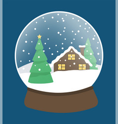 snow globe with pine tree and house landscape vector image