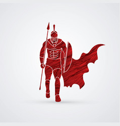 Spartan warriorroman fighter with a spear walking vector