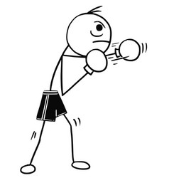 Stickman cartoon of boxer with boxing gloves vector