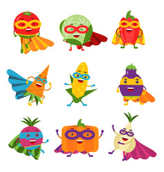 Superheroes vegetables in different costumes set vector