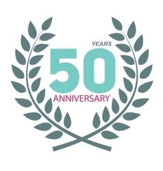 Template Logo 50 Anniversary in Laurel Wreath vector image