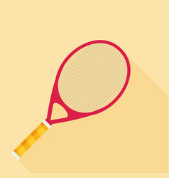 Tennis racket flat design with long shadow vector