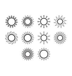 Thin line sol icon set vector