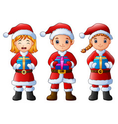 Three cartoon children holding christmas gifts iso vector