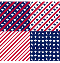 us stars and stripes seamless patterns vector image