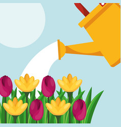 watering can flowers nature care gardening image vector image