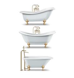white vintage bathtubs vector image