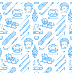 Winter sports blue colored seamless pattern vector