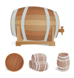 Wooden barrel vintage old style oak storage vector