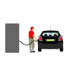 Worker on gas station fill machine with fuel vector