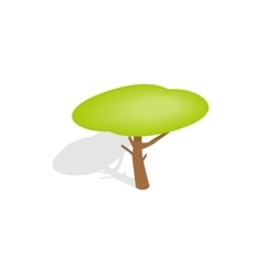 Yellow crown tree icon isometric 3d style vector image