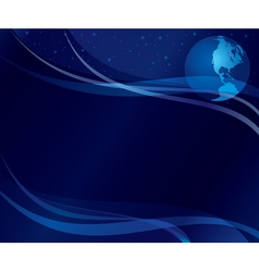 abstract dark blue background with globe vector image