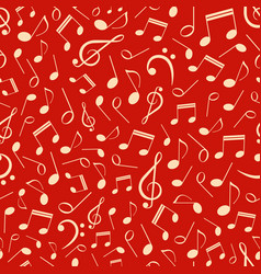 musical seamless pattern with notes vector image
