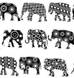 Ornate patterned elephantes vector image