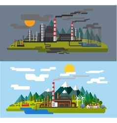 Farm and factory vector