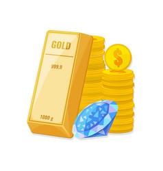 Gold bullion coins and diamond wealth savings vector