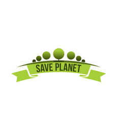 green ecology tree save planet icon vector image vector image