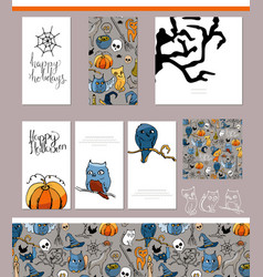 halloween symbols on visit cards and posters vector image