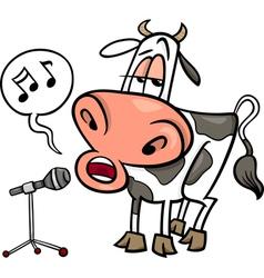 singing cow cartoon vector image vector image