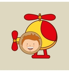 boy lovely smiling helicopter graphic vector image vector image